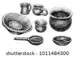 sketches of the various clayware | Shutterstock . vector #1011484300
