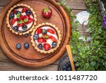 fresh homemade fruit tart with... | Shutterstock . vector #1011487720