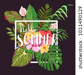 hello summer. lettering on a... | Shutterstock .eps vector #1011490129