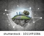 beautiful small island with... | Shutterstock . vector #1011491086