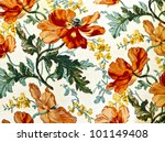 Stock photo fragment of colorful retro tapestry textile pattern with floral ornament useful as background 101149408