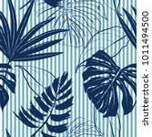 Summer Navy Blue Tropical...