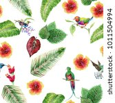 tropical leaves  birds and... | Shutterstock . vector #1011504994