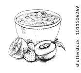 oatmeal breakfast with berries... | Shutterstock .eps vector #1011506269