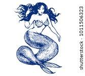fantasy mermaid girl with long... | Shutterstock .eps vector #1011506323