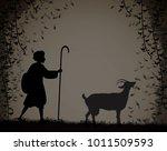 shepherd herds the goat  young... | Shutterstock .eps vector #1011509593