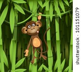 Stock vector illustration a brown monkey in the jungle 101151079