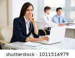 young business woman in office... | Shutterstock . vector #1011516979