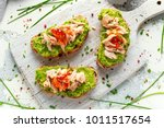 homemade toast sandwich with... | Shutterstock . vector #1011517654