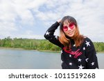 happy girl with sky and... | Shutterstock . vector #1011519268