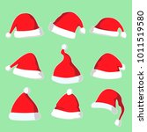 christmas santa hat vector... | Shutterstock .eps vector #1011519580