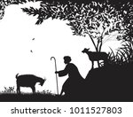 shepherd and the goat  young... | Shutterstock .eps vector #1011527803