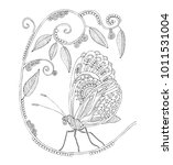 hand drawn butterfly and flower.... | Shutterstock .eps vector #1011531004