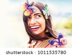 beautiful indian woman with... | Shutterstock . vector #1011535780