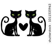 black cat. flat design. | Shutterstock .eps vector #1011535963