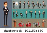 set of business man character... | Shutterstock .eps vector #1011536680