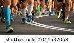 marathon running race people... | Shutterstock . vector #1011537058
