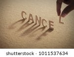 Small photo of CANCEL wood word on compressed or corkboard with human's finger at L letter.