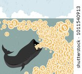 whale eating bitcoin  metaphor... | Shutterstock .eps vector #1011540913