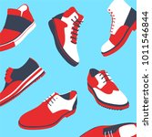 set of colored man shoes. vector | Shutterstock .eps vector #1011546844