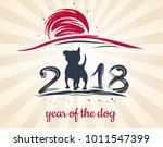chinese new year 2018. greeting ... | Shutterstock .eps vector #1011547399