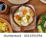 portuguese cuisine   acorda de... | Shutterstock . vector #1011551596