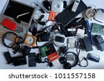 pile of used electronic waste... | Shutterstock . vector #1011557158