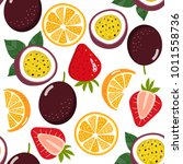 mixed fruit seamless pattern... | Shutterstock .eps vector #1011558736