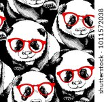 seamless pattern with portrait... | Shutterstock .eps vector #1011572038