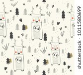 seamless pattern with cute... | Shutterstock .eps vector #1011580699