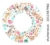 watercolor cute funny dogs and...   Shutterstock . vector #1011587986