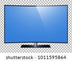 curved tv. 4k ultra hd screen ... | Shutterstock .eps vector #1011595864