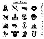 super hero icon set  | Shutterstock .eps vector #1011598996