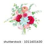 watercolor style flowers... | Shutterstock .eps vector #1011601630