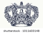 crown tattoo and t shirt design | Shutterstock .eps vector #1011603148