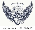 heart and wings in space tattoo.... | Shutterstock .eps vector #1011603490