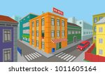 city center street with man and ... | Shutterstock .eps vector #1011605164