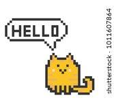 cute cat pixelart | Shutterstock .eps vector #1011607864