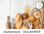 homemade bread or bakery with...   Shutterstock . vector #1011609859