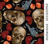 embroidery skulls  hearts  guns ... | Shutterstock .eps vector #1011610963