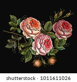roses embroidery seamless... | Shutterstock .eps vector #1011611026