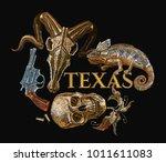 embroidery wild west  revolver  ... | Shutterstock .eps vector #1011611083