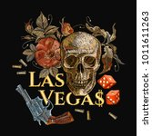 embroidery skulls and guns ... | Shutterstock .eps vector #1011611263