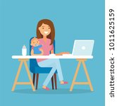 working mom   young woman... | Shutterstock . vector #1011625159