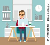 office work and remote work ... | Shutterstock . vector #1011625180