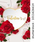 Stock vector valentine s day greeting card templates with realistic of beautiful red rose on background color 1011626614