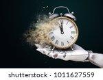 robot hand holding an alarm... | Shutterstock . vector #1011627559