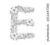 floral alphabet letter e...