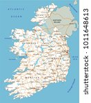 high detailed ireland road map... | Shutterstock .eps vector #1011648613