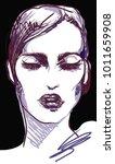 vogue graphic woman portrait... | Shutterstock .eps vector #1011659908